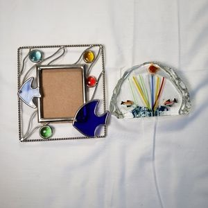 Multicolored Glass Silver Fish Frame &Paperweight